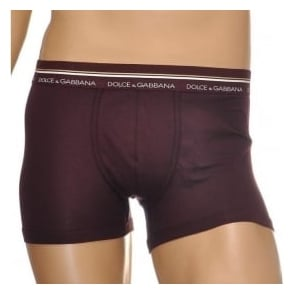 Dolce & Gabbana Mako Stretch Cotton Regular Boxer, Brown / Dark Violet