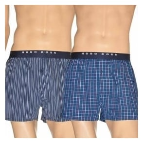 HUGO BOSS Woven Boxer Short 2-Pack, Navy Stripe & Check