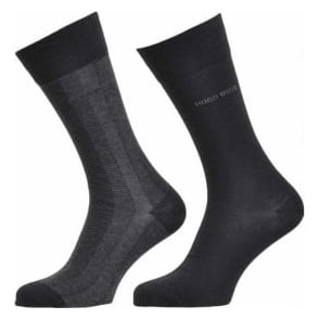 HUGO BOSS 2 Pack Finest Wool / Soft Cotton Logo Socks, Black
