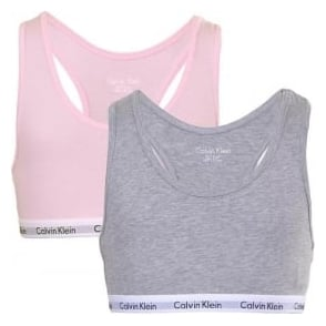Calvin Klein GIRLS 2 Pack Modern Cotton Bralette, Pink/Grey