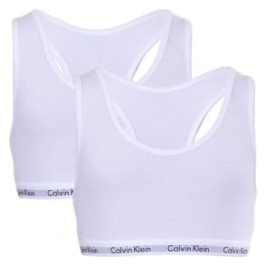 Calvin Klein GIRLS 2 Pack Modern Cotton Bralette, White