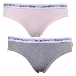 Calvin Klein GIRLS 2 Pack Modern Cotton Bikini Brief, Pink/Grey