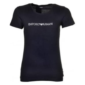 Emporio Armani Women Visibility Stretch Cotton Crew Neck T-Shirt, Black