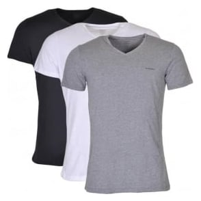DIESEL UMTEE Jake 3-Pack 'V' Neck T-Shirt, Black/Grey/White