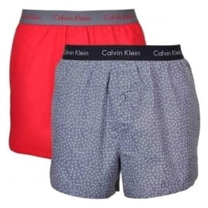 Calvin Klein Woven Slim Fit Boxer 2-Pack, Regal Red/Retro Sparkle