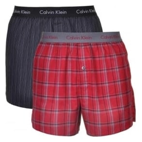 Calvin Klein Woven Slim Fit Boxer 2-Pack, Playful Check/King Stripe