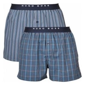 HUGO BOSS Woven Boxer Short 2-Pack, Blue/White Stripe & Check