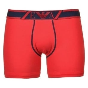 Emporio Armani Striped Logo Stretch Cotton Boxer Brief, Red