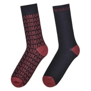 Emporio Armani 2 Pack All Over Logo Socks, Blue