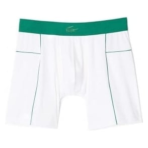 Lacoste Motion Micro Mesh Stretch Boxer Brief, White/Green