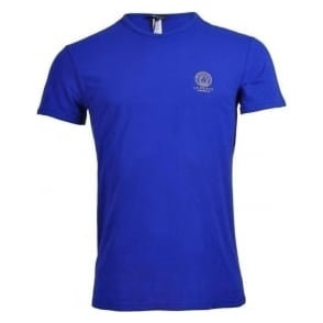Versace Iconic Stretch Cotton Crew Neck T-Shirt, Blue