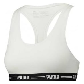 PUMA Women Cotton Modal Stretch Iconic Bralette, White