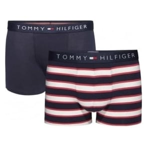 Tommy Hilfiger Boys 2 Pack Icon Boxer Trunk, Tango Red / Navy Blazer Stripe