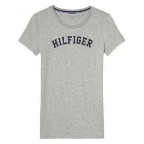 Tommy Hilfiger Women Organic Cotton Short Sleeved Crew Neck T-Shirt, Heather Grey