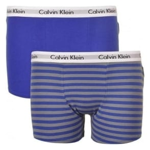 Calvin Klein Boys 2 Pack Modern Cotton Boxer Trunk, Blue / Stripe
