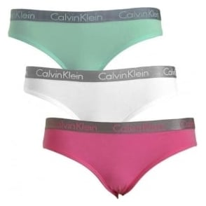 Calvin Klein Women Radiant 3-Pack Bikini Brief, Pink / White / Mint Green