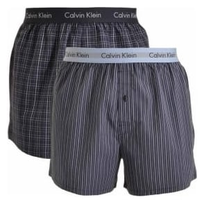 Calvin Klein Woven Slim Fit Boxer 2-Pack, Juniper Plaid / Cliff Stripe
