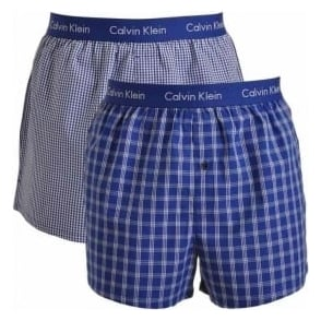 Calvin Klein Woven Slim Fit Boxer 2-Pack, Martin Check - Olden Check / Blue