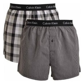 Calvin Klein Woven Slim Fit Boxer 2-Pack, London Plaid / Black