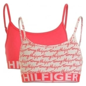 Tommy Hilfiger Girls 2 Pack Bold Bralette, Rouge Red / Logo Print