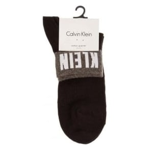 Calvin Klein Women Cotton Logo Cuff Quarter Socks, Black