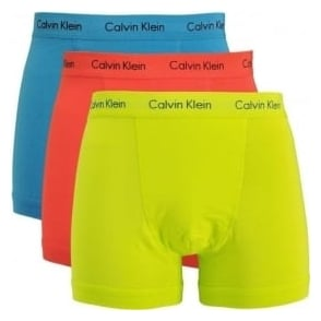 Calvin Klein Cotton Stretch 3 Pack Trunk, Blue/Orange/Yellow