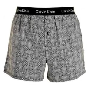 Calvin Klein Woven Slim Fit Boxer, Dimensional Matrix - Black