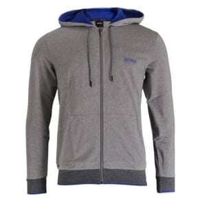 HUGO BOSS Cotton Zip-through Hooded Jacket, Grey