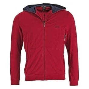 HUGO BOSS Stretch Cotton Zip-through Hooded Jacket, Dark Red