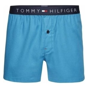 Tommy Hilfiger Icon Woven Boxer Houndstooth, Blue Danube