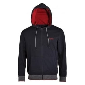 HUGO BOSS Cotton Zip-through Hooded Jacket, Dark Blue