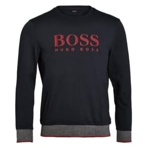 HUGO BOSS Long Sleeve Cotton Crew Neck Sweatshirt, Dark Blue