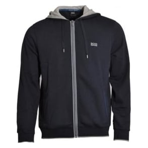 HUGO BOSS Cotton Blend Zip-through Hooded Jacket, Dark Blue