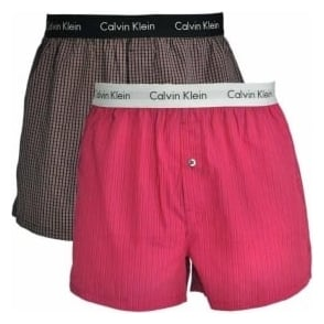 Calvin Klein Woven Slim Fit Boxer 2-Pack, Demi Check Black / Aberdeen Stripe Dylan