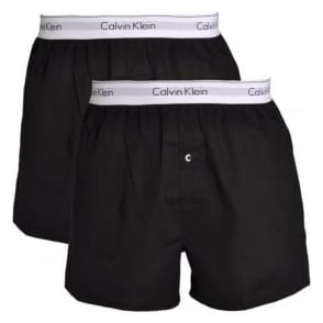 Calvin Klein Modern Cotton Slim Fit Woven Boxer 2-Pack, Black