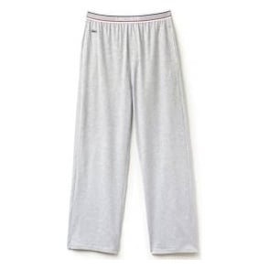 Lacoste Stretch Cotton Lounge Pant Contrast Waistline, Grey Melange