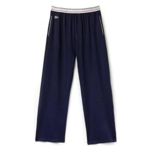 Lacoste Stretch Cotton Lounge Pant Contrast Waistline, Dark Blue