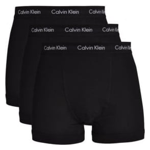 Calvin Klein Cotton Stretch 3 Pack Trunk, All Black