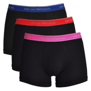 Emporio Armani Fashion Multipack Stretch Cotton 3-Pack Boxer Brief, Black with Blue / Red / Pink