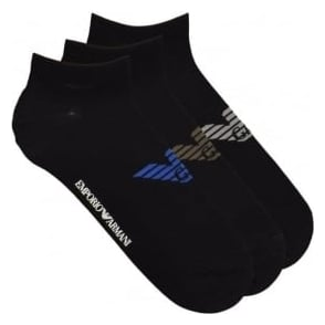 Emporio Armani 3 Pack Big Eagle Logo Trainer Socks, Black