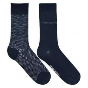 Emporio Armani 2 Pack Stretch Cotton Short Socks, Blue