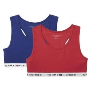 Tommy Hilfiger Girls 2 Pack Iconic Bralette, Crimson / Blue Depths