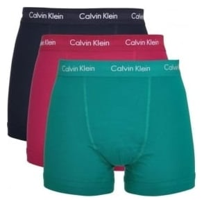 Calvin Klein Cotton Stretch 3 Pack Trunk, Navy/Purple/Green