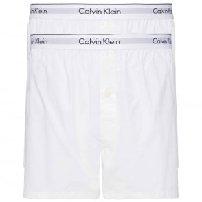 Calvin Klein Modern Cotton Slim Fit Woven Boxer 2-Pack, White