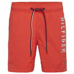 Tommy Hilfiger Boys Medium Drawstring Swim Shorts, Flame Scarlet