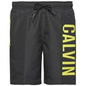 Calvin Klein Boys Intense Power Swim Shorts, Black & Yellow