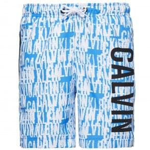 Calvin Klein Boys Intense Power Swim Shorts, Blue & White Logo