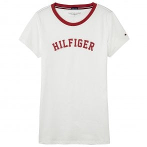 Tommy Hilfiger Women Organic Cotton Short Sleeved Crew Neck T-Shirt, White & Red