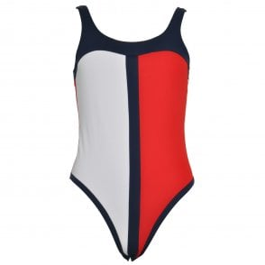 Tommy Hilfiger Women One-Piece Signature Swimsuit, Tango Red / Navy Blazer / White
