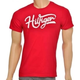 Tommy Hilfiger Norton Organic Cotton Short Sleeved Crew Neck T-Shirt, Red